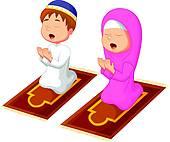 170x142 Clip Art Of Muslim Kid Praying K22050857