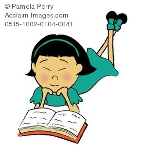 300x300 Art Illustration Of An Asian Girl Reading A Book