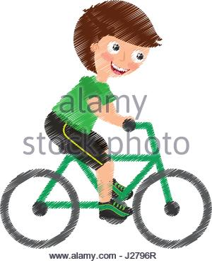 300x371 A Vector Illustration Of A Kid Riding A Bicycle In An Accident