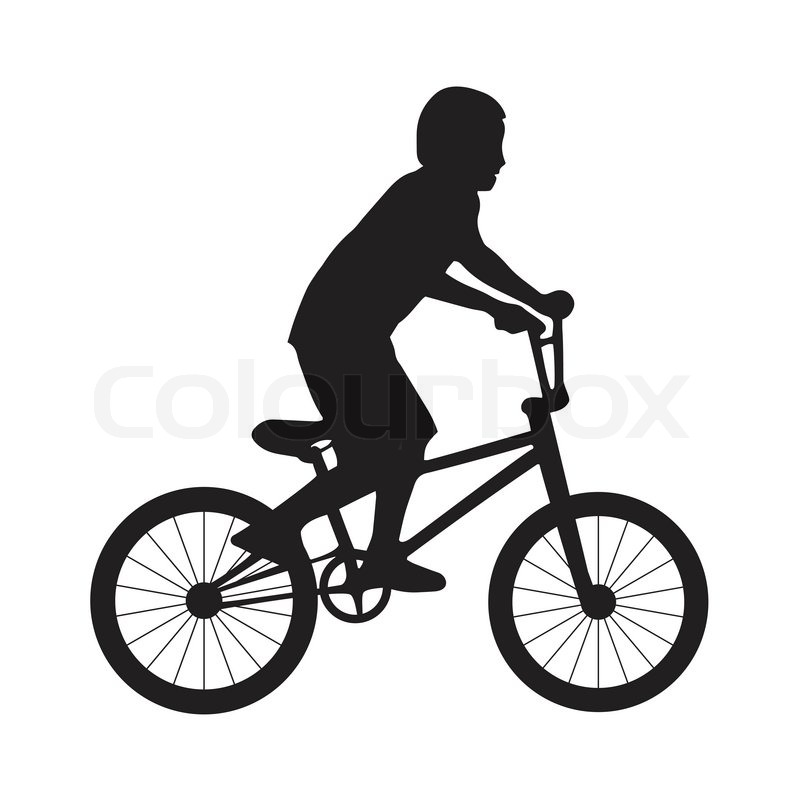 800x800 Silhouette Boy Ride Bicycle Stock Vector Colourbox