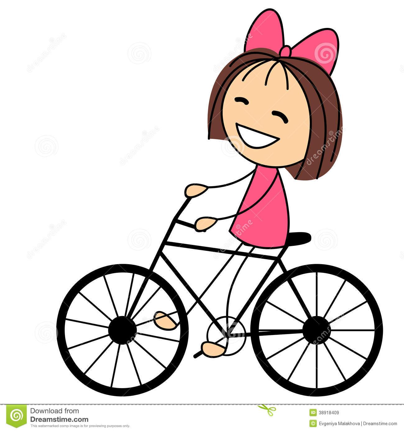 1300x1390 Clipart Of A Little Girl Riding A Bike