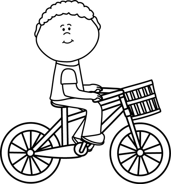 Kid Riding Bike Clipart