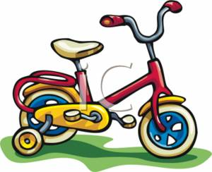 300x244 Clipart Picture Of A Kids Bike With Training Wheels