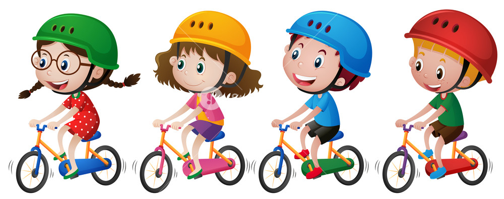 1000x395 Four Kids Riding Bike With Helmet On Illustration Royalty Free