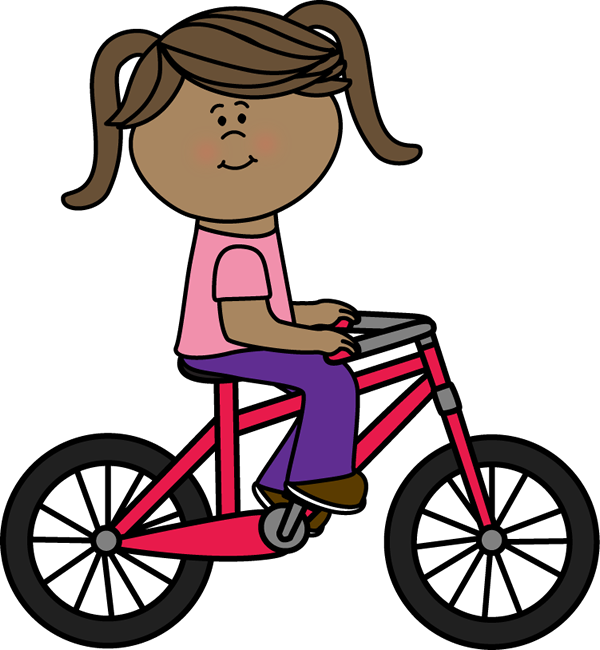 600x650 Girl Riding A Bicycle Clip Art