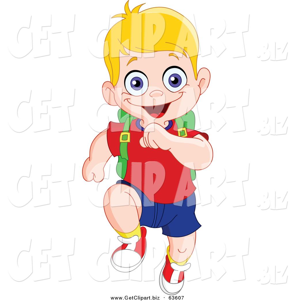 1024x1044 Clip Art Of A Happy Blond White School Boy Running Forward By