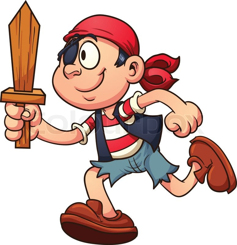 776x800 Pirate Kid Running. Vector Clip Art Illustration With Simple