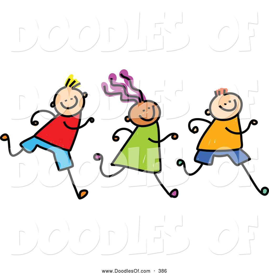 1024x1044 Vector Clipart Of A Row Of Three Running Kids On White By Prawny