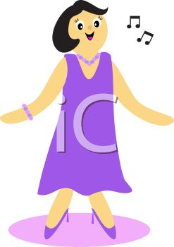 247x350 Royalty Free Clipart Image Woman Singing In An Evening Gown