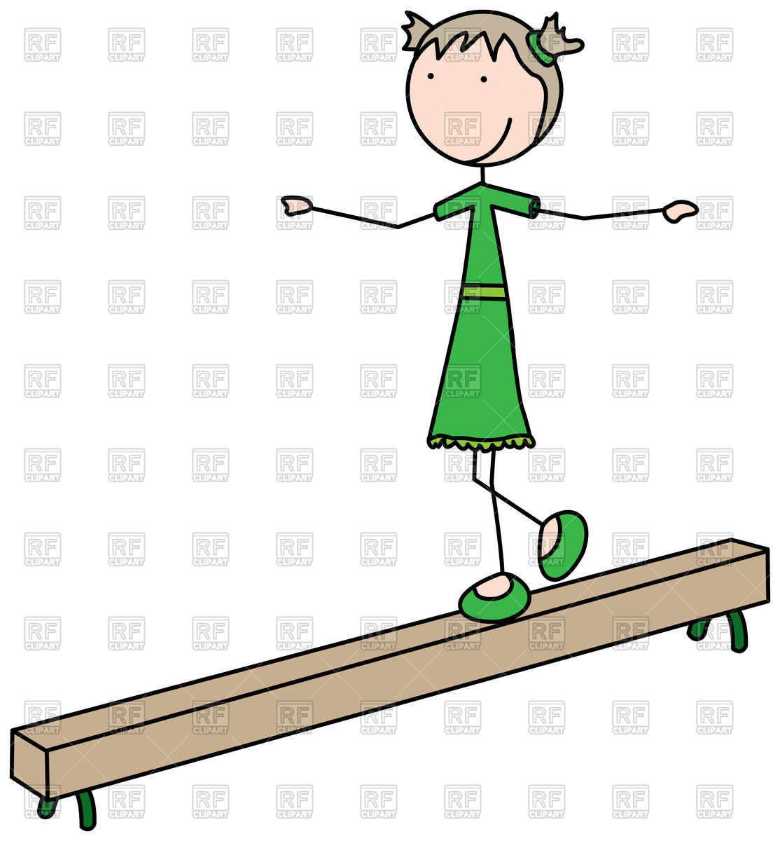 1114x1200 Cartoon Girl Walking On A Balance Beam Vector Clipart Image