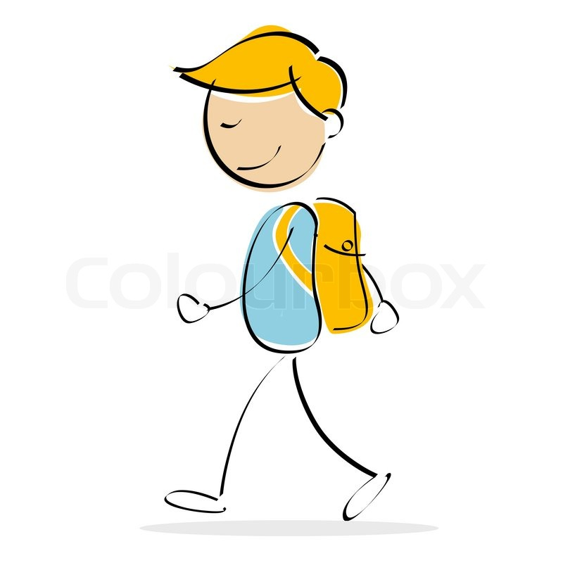 800x800 Illustration Of Vector Kid Walking While Carrying School Bag