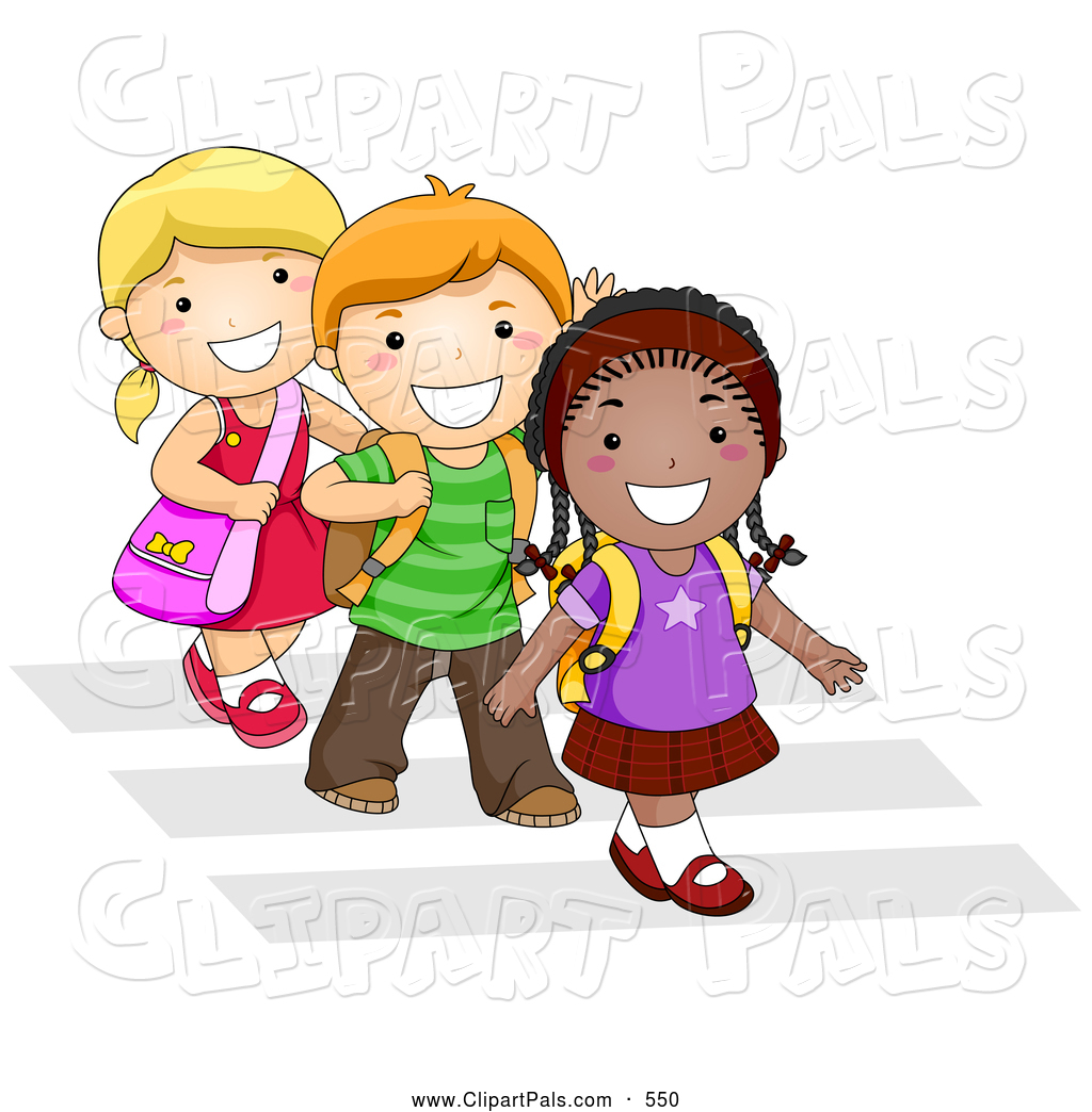 1024x1044 Pal Clipart Of Trio Of Diverse School Kids Walking In Line On