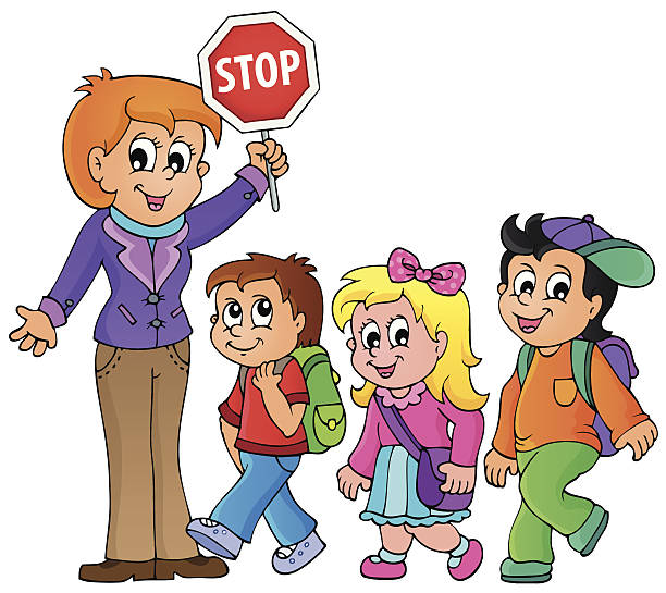 612x545 Walking With Teacher Clipart