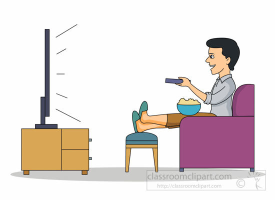 550x400 Entertainment Man Relaxing Watching Tv Clipart 2