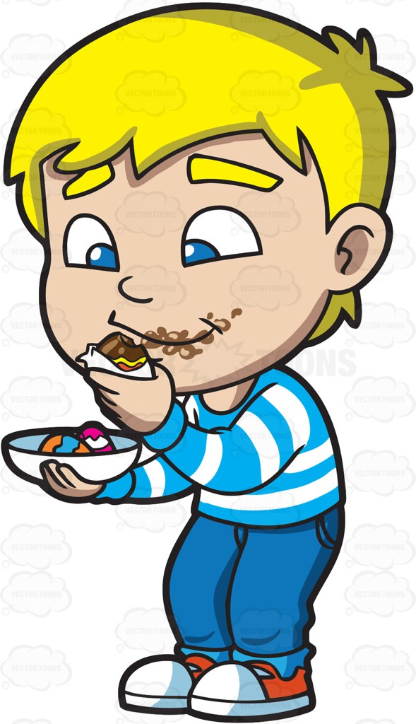589x1024 Kid Eating Chocolate Clipart