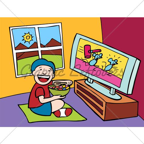 500x500 Cartoon Watching Tv Clipart