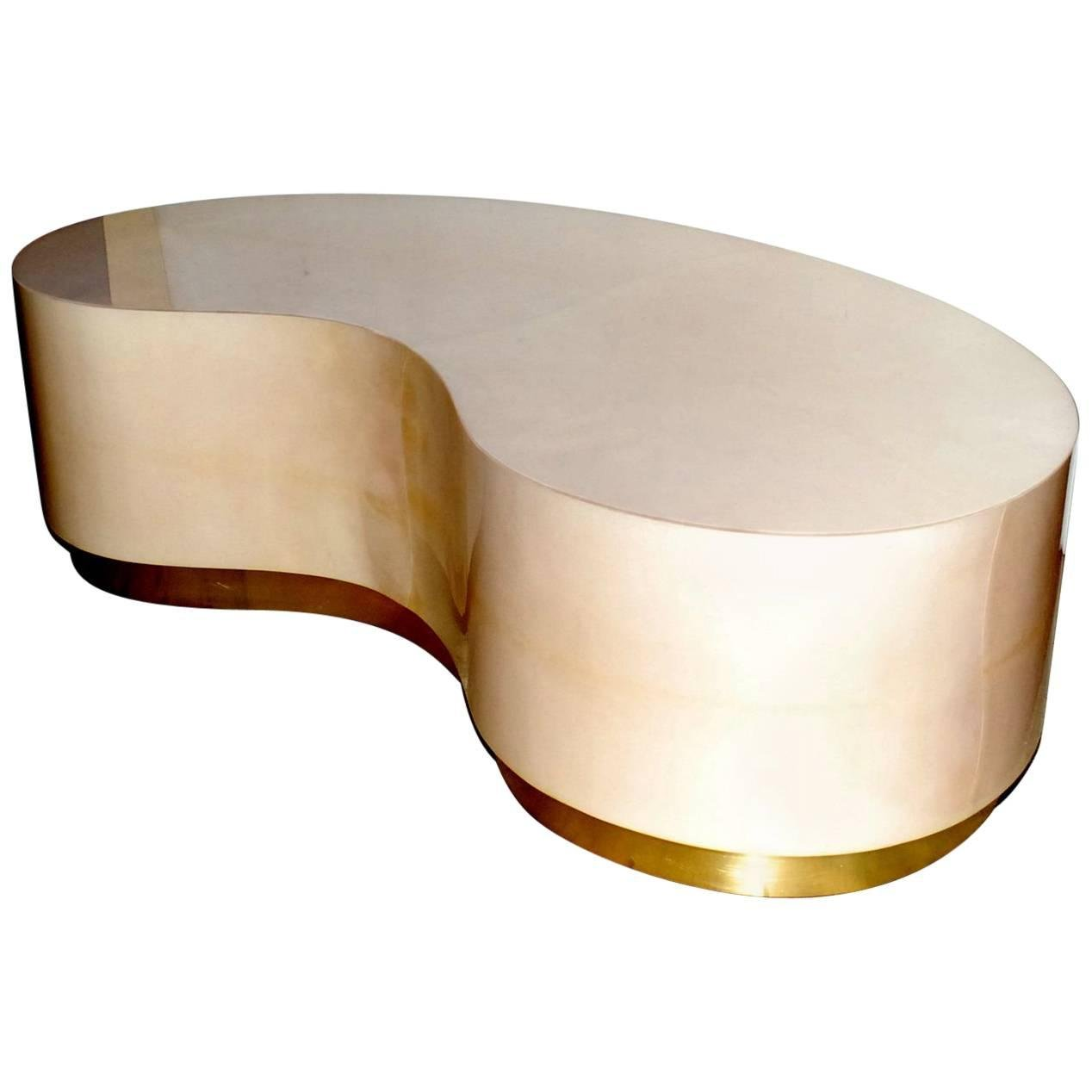 1268x1268 Parchment Kidney Shape Coffee Table With Brass Detail For Sale