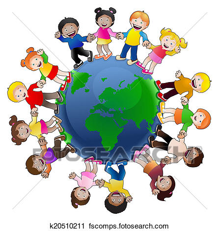 446x470 Clipart Of Kids Around The World K20510211