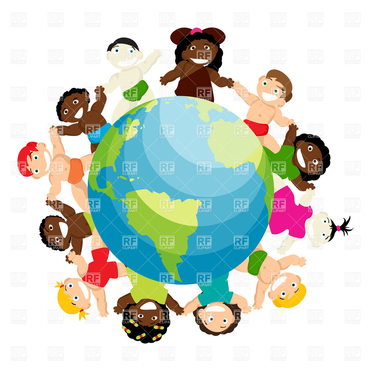 1200x1200 Kids Of Different Ethnicity Join Hands Around The Planet Earth