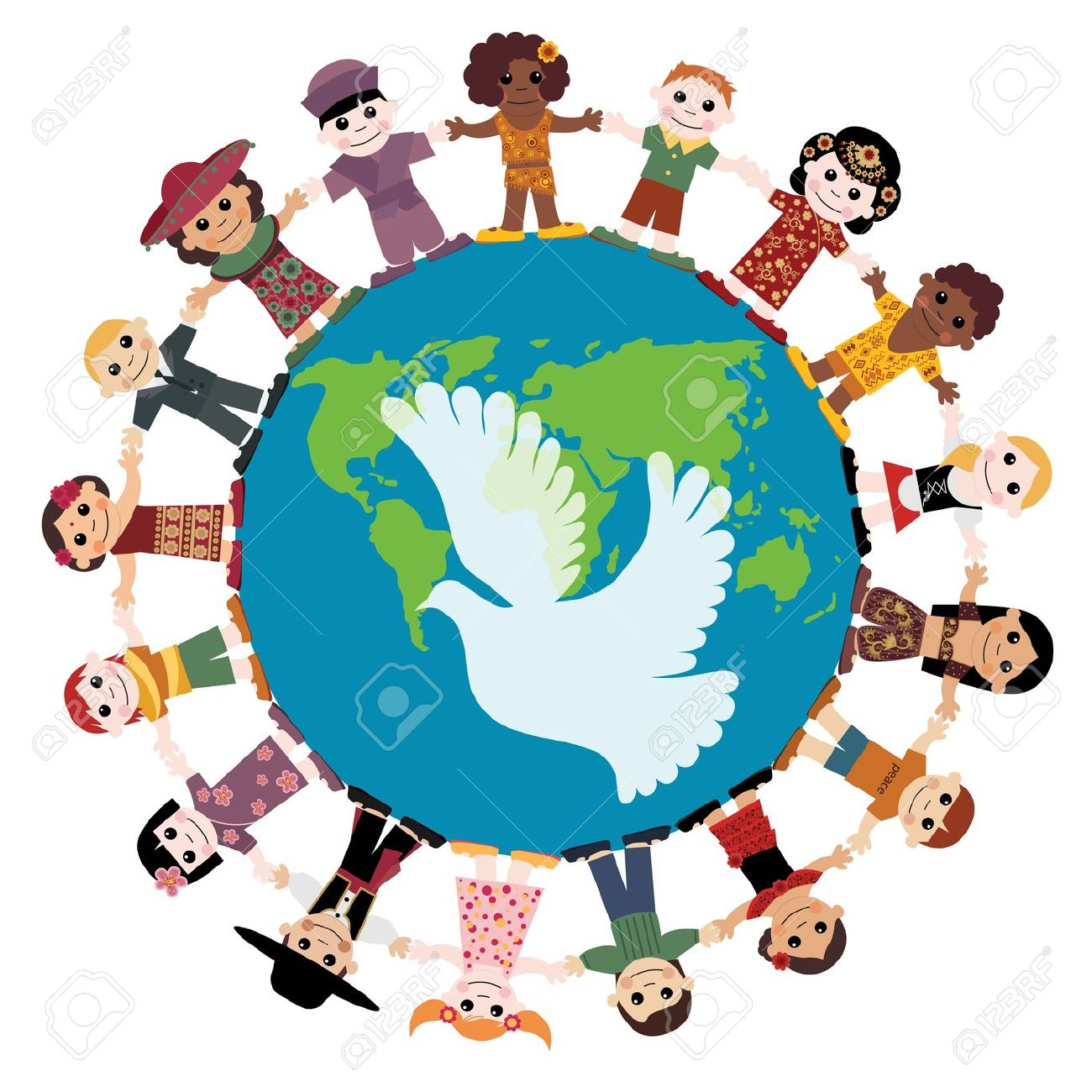 1300x1300 9475011 Happy Children Holding Hands Around The Globe Stock Vector
