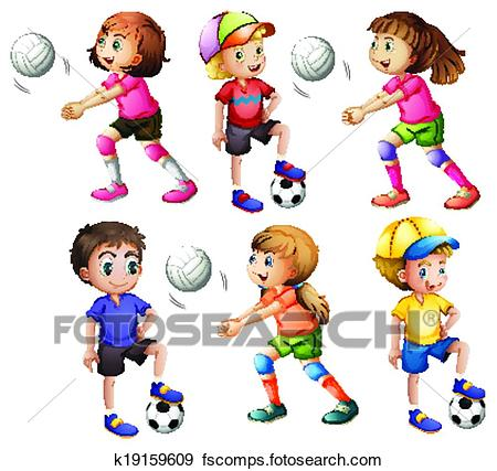 450x427 Clip Art Of Kids Playing Volleyball And Football K19159609