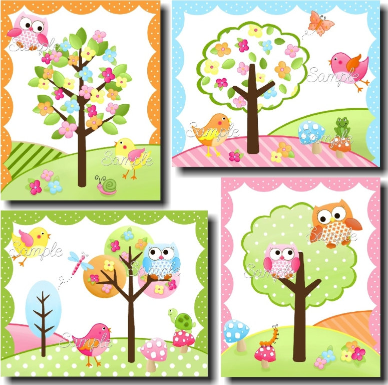 775x768 Canvas Growth Chart Owls Love Birdies Girls Pink Nature Flowers