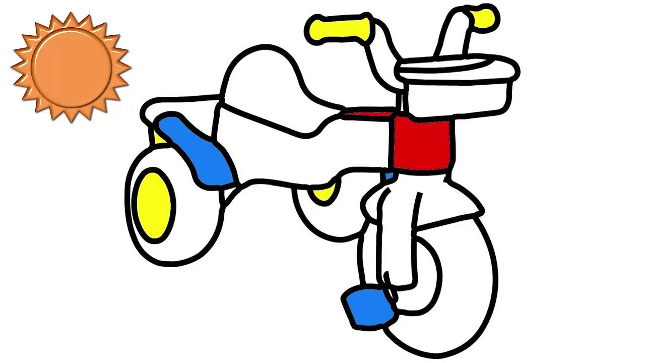 1280x720 How To Draw Bicycle Kids! Bicycle Drawing And Coloring
