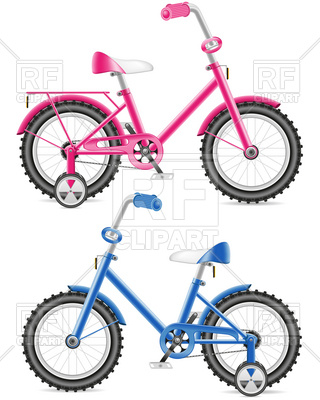 320x400 Pink And Blue Kids Bicycle Royalty Free Vector Clip Art Image