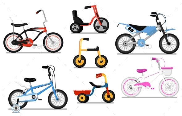 590x377 Different Types Of Kids Bicycles Isolated Vector Set By