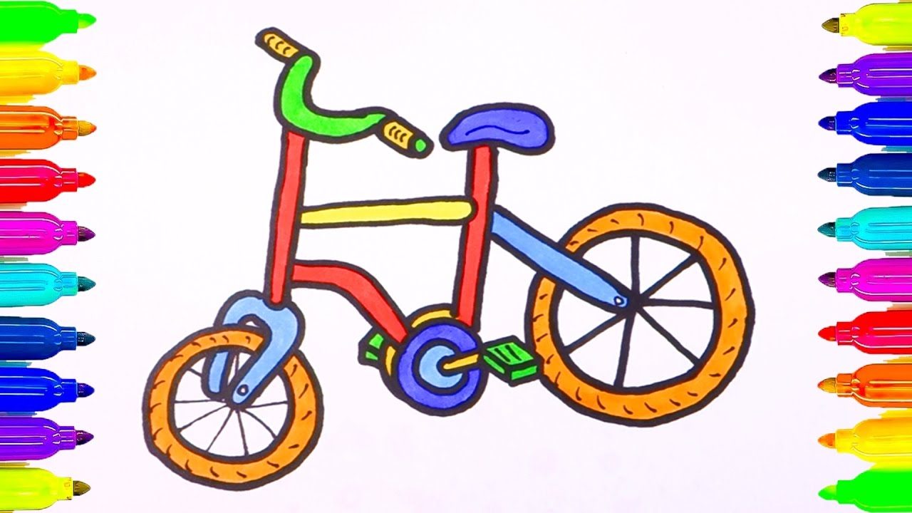 1280x720 How Draw Bicycle For Kids Videos For Kids Learning How