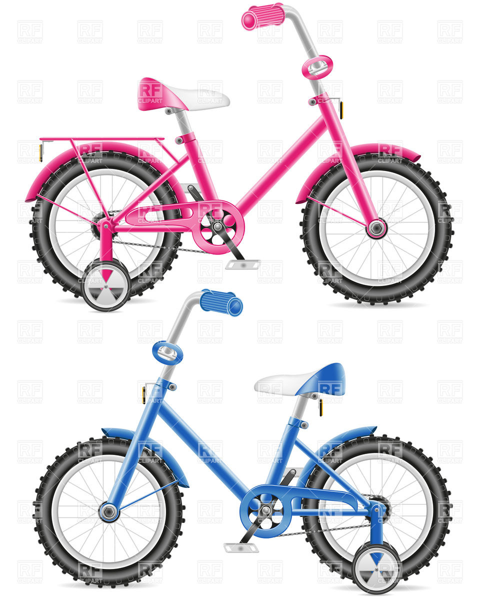 960x1200 Pink And Blue Kids Bicycle Royalty Free Vector Clip Art Image