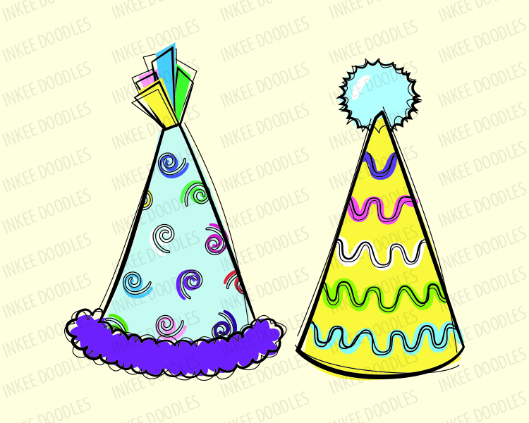 750x600 Doodles Party Hats Cute kids birthday celebration clip art for