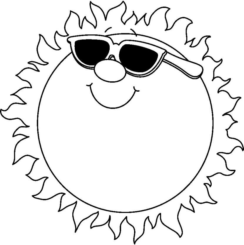 830x834 Summer Clip Art Black And White