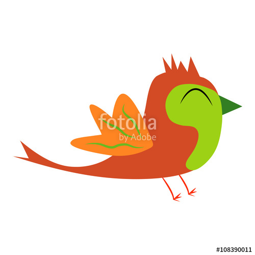 500x500 Isolated Funny And Colorful Bird Cartoon. Single Bird Clip Art