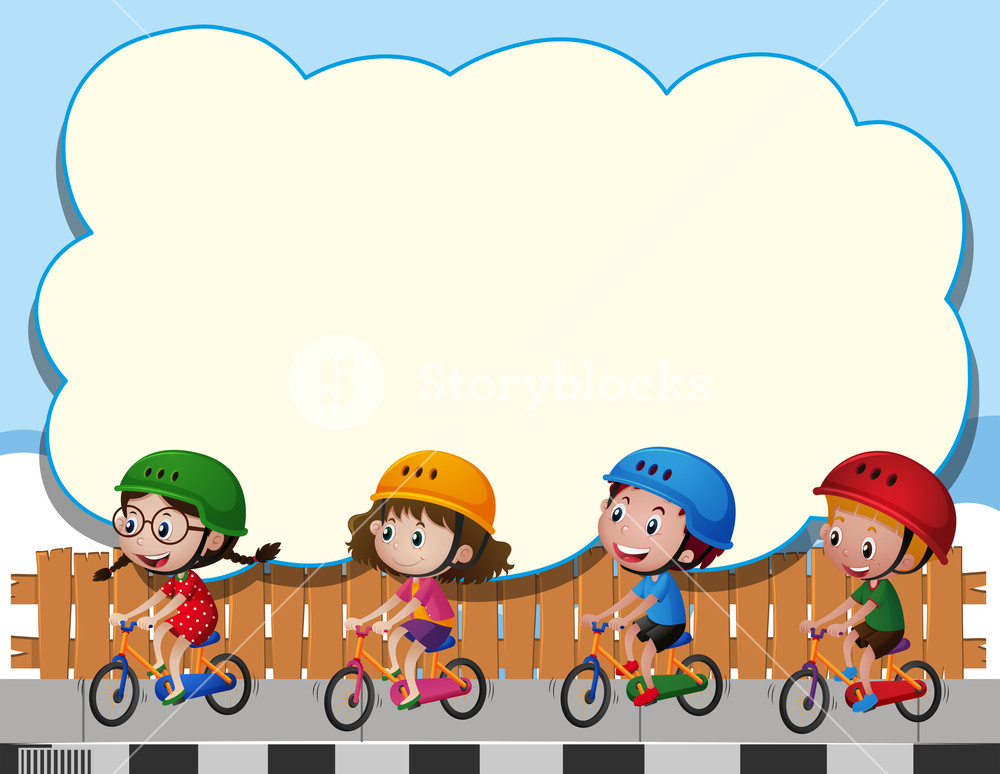 1000x774 Border Template With Four Kids Riding Bike Illustration Royalty