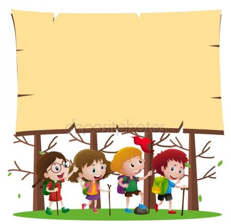 450x437 Border template with kids hiking in woods — Stock Vector © brgfx