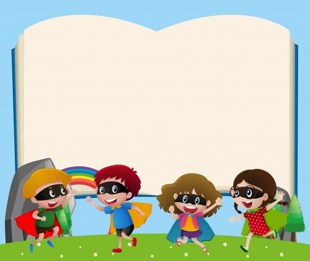 626x527 Border template with kids playing hero Vector Free Download