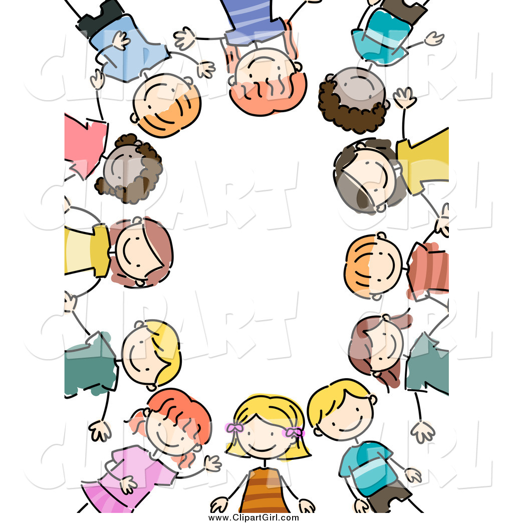 1024x1044 Clip Art of a Border of Stick Kids by BNP Design Studio