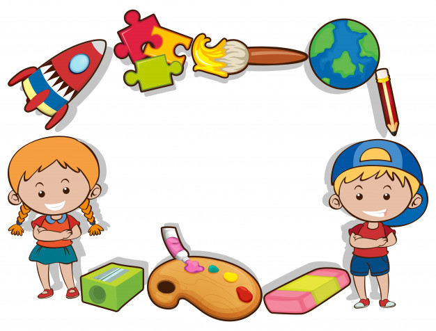 626x476 Border design with happy kids and toys Vector Free Download