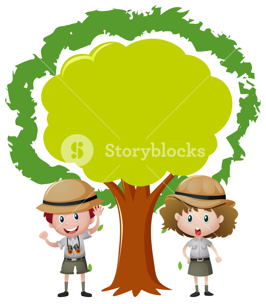 876x1000 Border Design With Kids In Safari Outfit Illustration Royalty Free