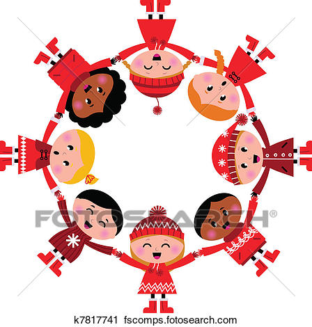 448x470 Clipart Of Happy Smiling Winter Kids In Circle. Vector Cartoon