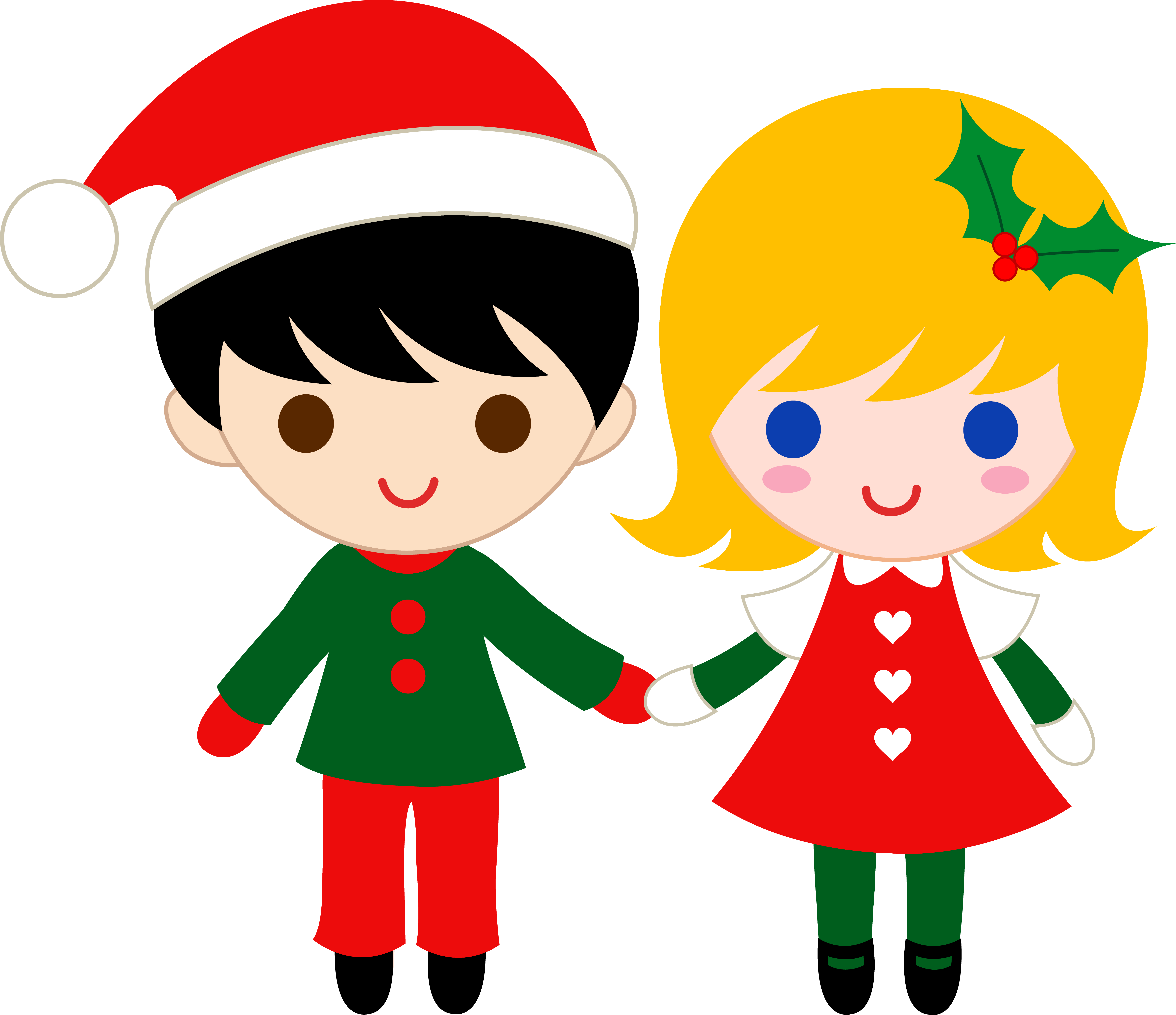 7105x6130 Cute Christmas Kids Clip Art