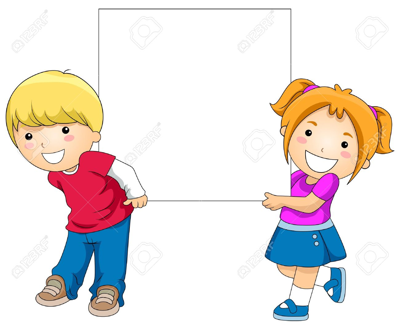1300x1057 Kids With A Blank Board Against White Background Stock Photo