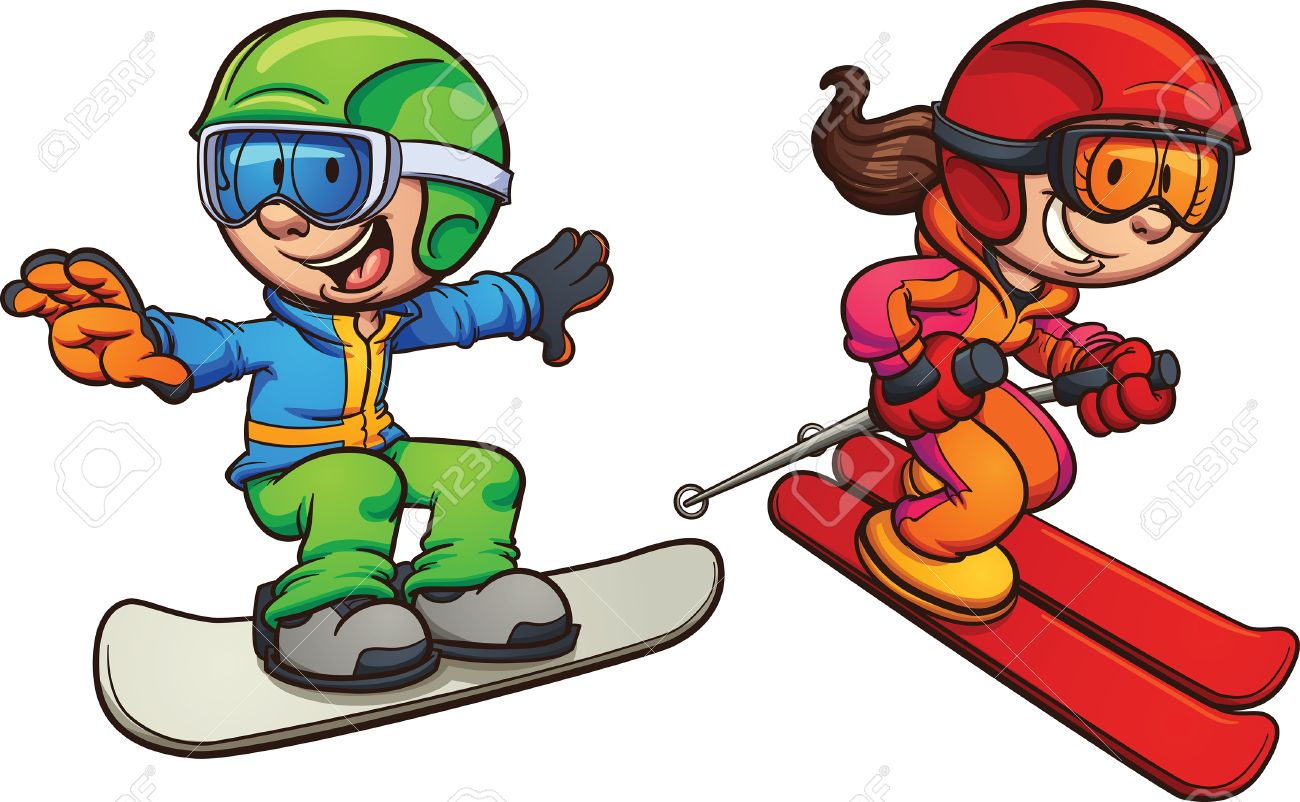 1300x802 Skiing And Snowboarding Kids. Vector Clip Art Illustration