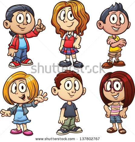446x470 Cartoon Kids. Vector Clip Art Illustration With Simple Gradients