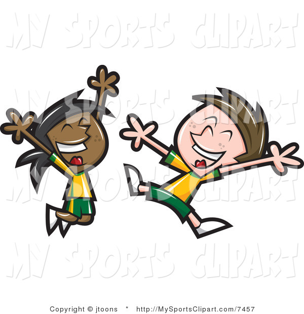 600x620 Sports Clip Art Of A Soccer Kids Jumping By Jtoons