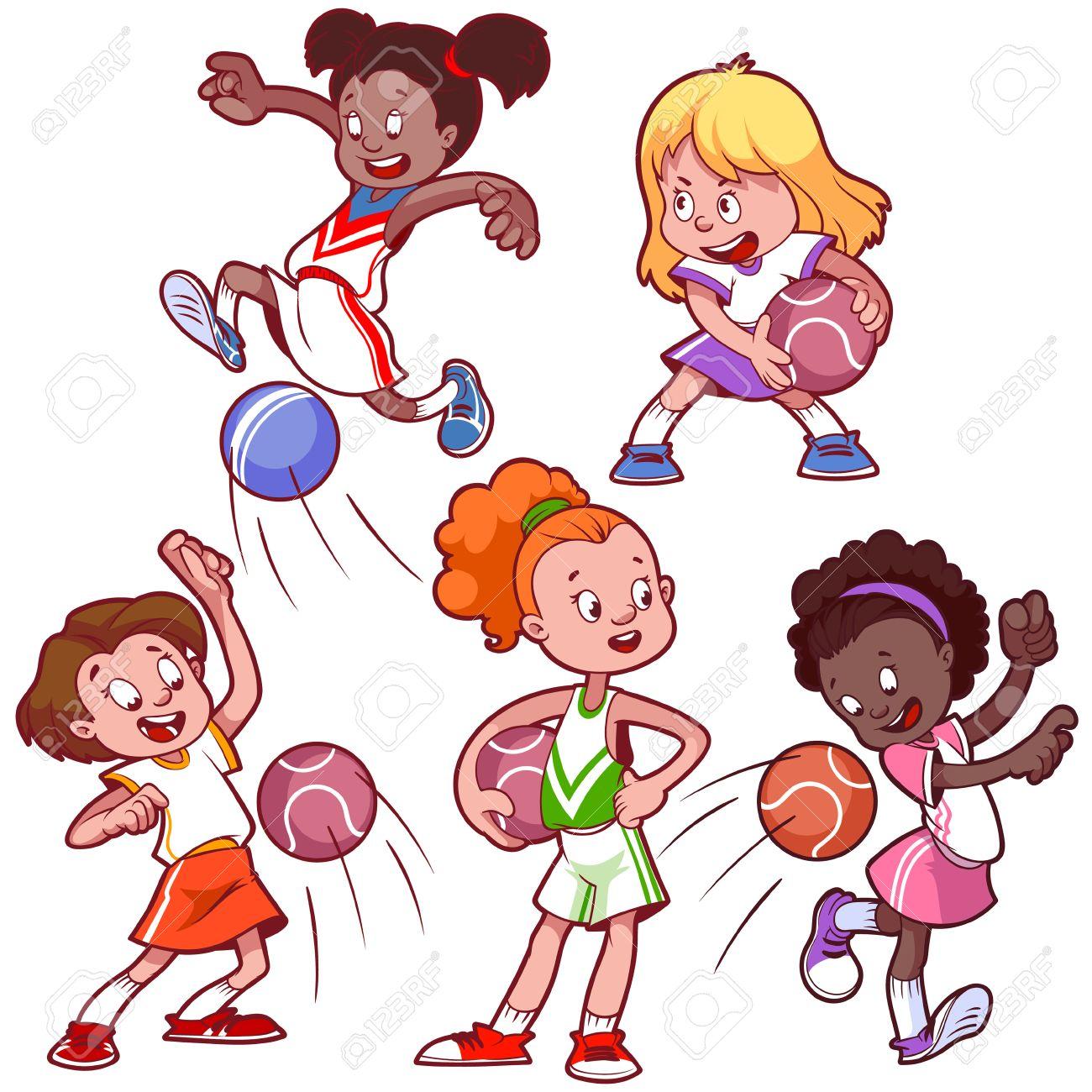 1300x1300 Cartoon Kids Playing Dodgeball. Vector Clip Art Illustration