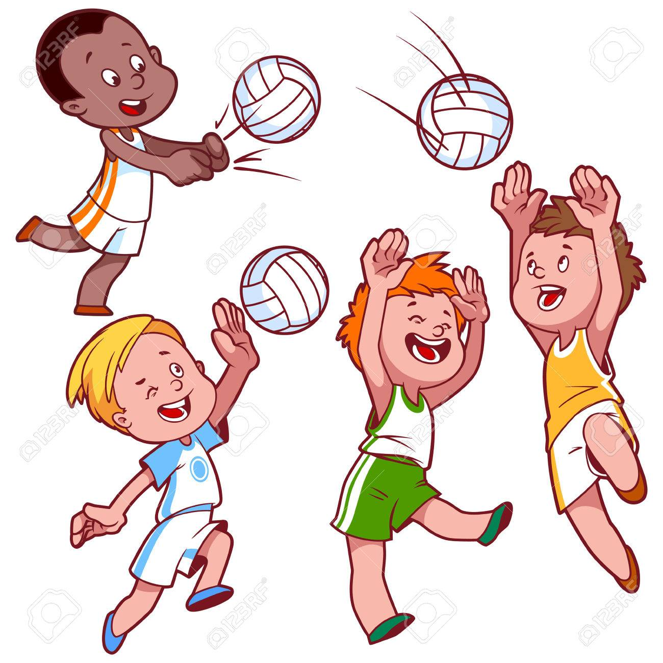 1300x1300 Cartoon Kids Playing Volleyball. Vector Clip Art Illustration