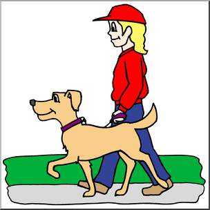 304x304 Clip Art Kids Chores Walking The Dog Color I