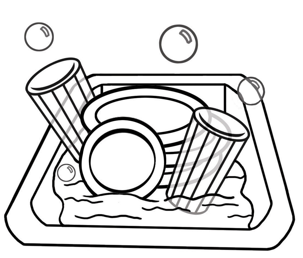 1055x898 Chores Clip Art Black And White